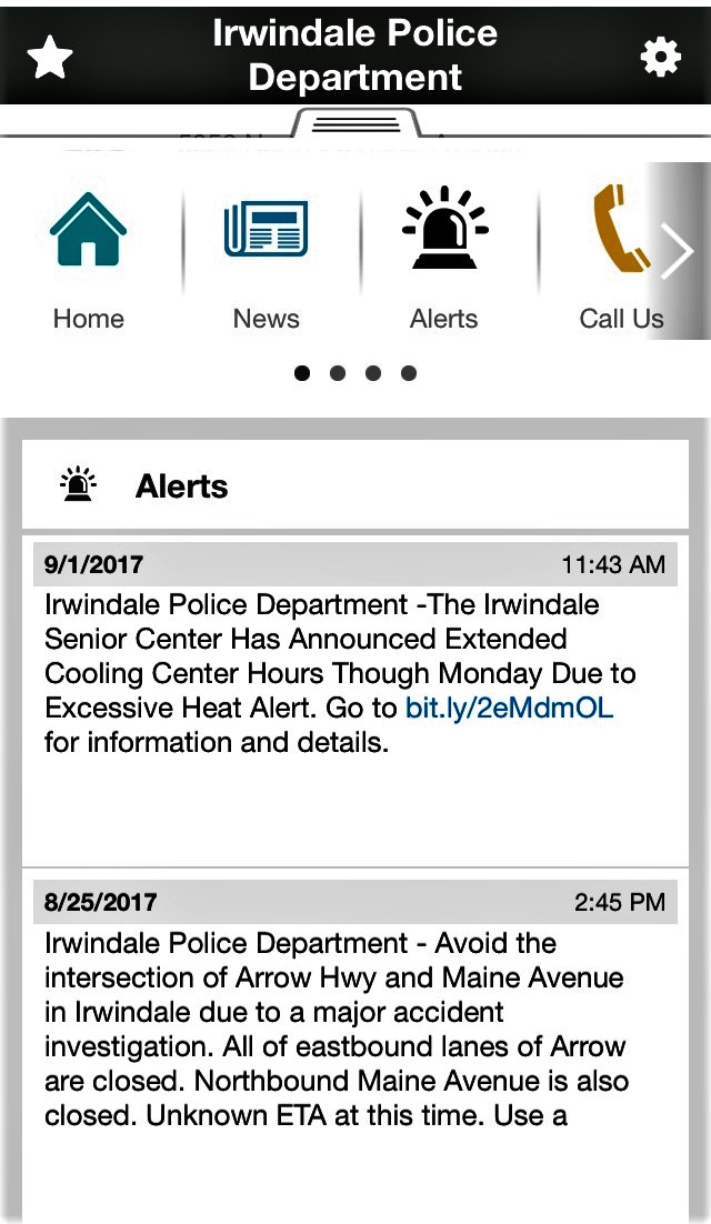 Irvindale Police Department Mobile App 3