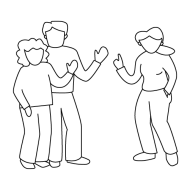 Drawing of a group of three people standing together