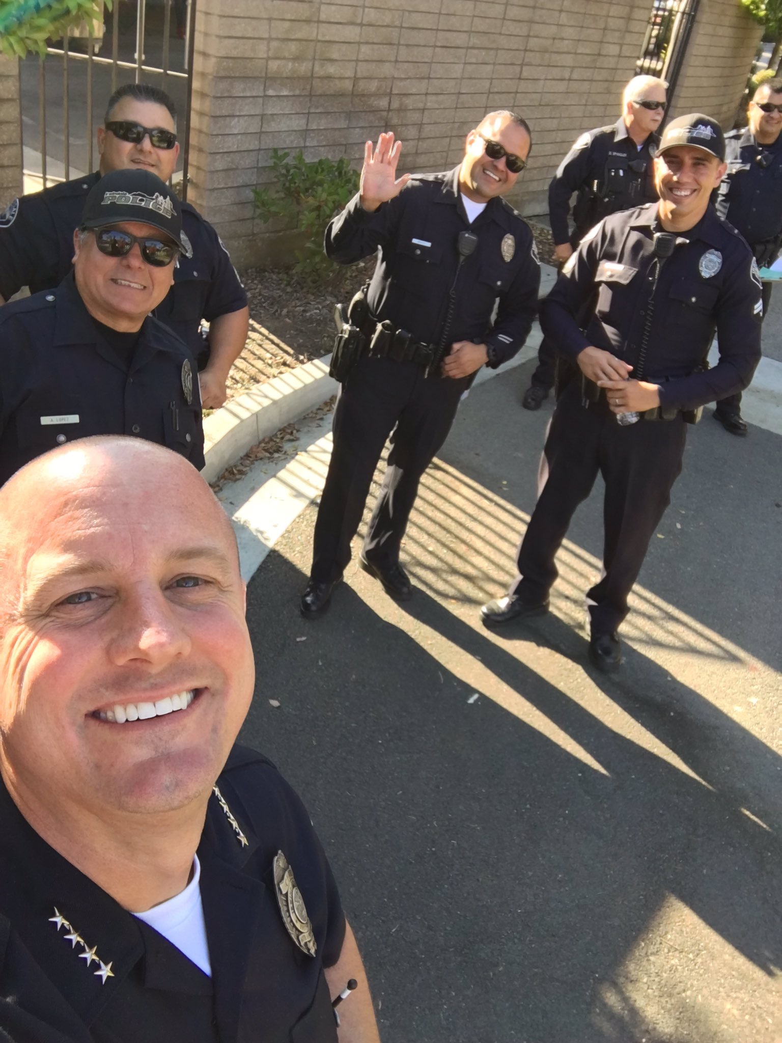 Police Officers smiling for candid photo