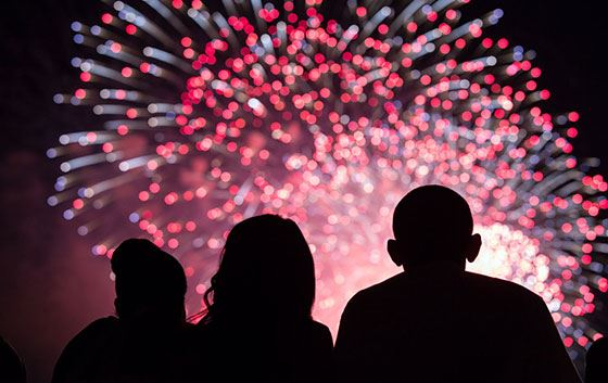 Family Watching Fireworks