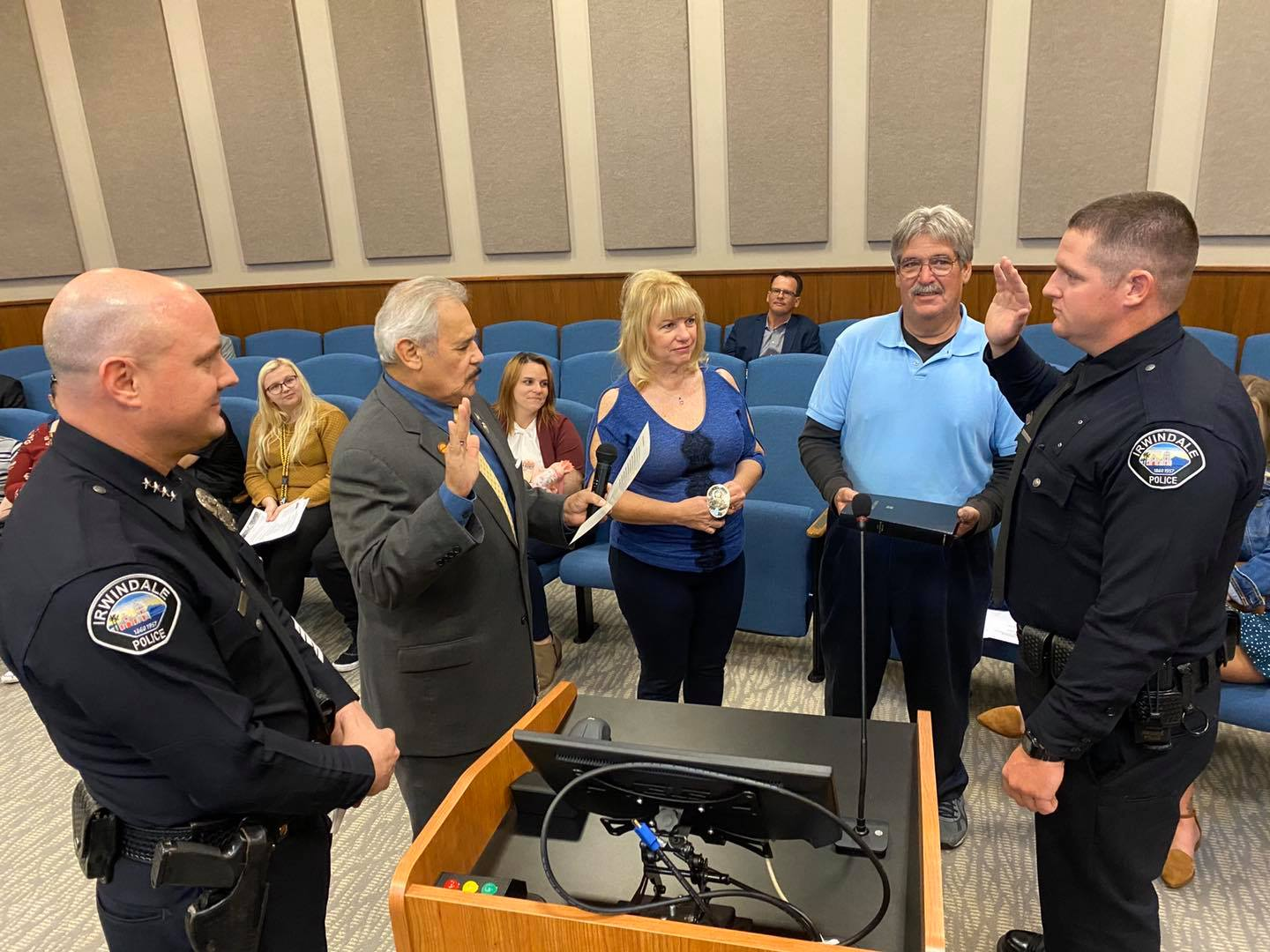 Photo of Officer O'Brein Being Sworn In 2