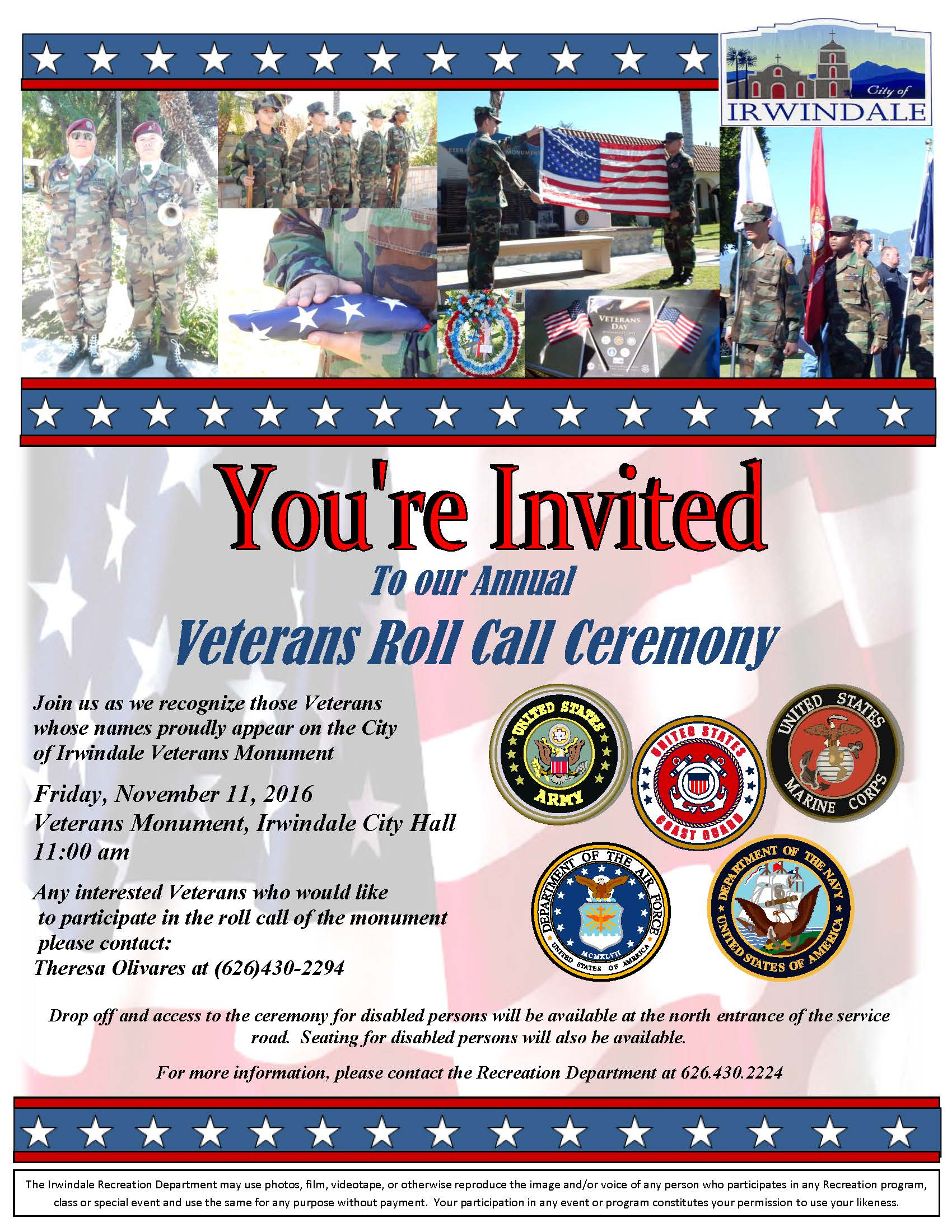 Veterans Memorial info flyer